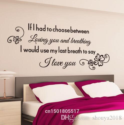 Großhandel Kostenloser Versand Romantische Englische Sprüche Wandaufkleber  Home Dekore Buchstaben Schlafzimmer Wandgemälde Poster Europa Stil ...
