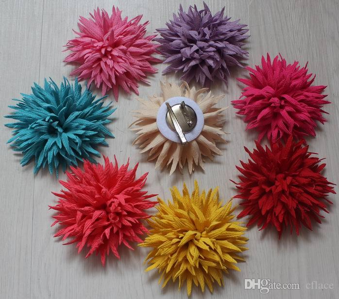 20pcs 9cm fabric dual-use clip flower for girls hair and clothing accessories,hair clip flower,clip flowers for clothes