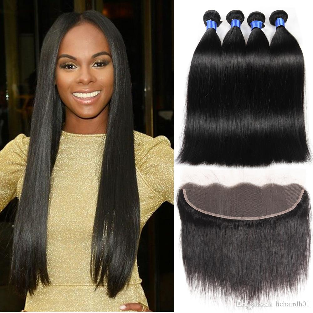 13x4 Lace Frontal With Bundles 100% Unprocessed Brazilian Straight Virgin Human Hair 4 Bundles Cheap Wholesale Bleached Wet And Weavy Thick