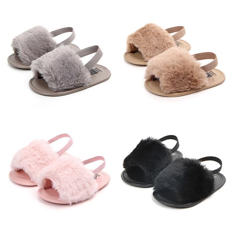 Infant Baby Mädchen Weiche Sohle Sandale Schuhe Plüsch Rutsche Sandale Sommer Kleinkind Sandale Prinzessin rutschfeste Krippe Schuhe