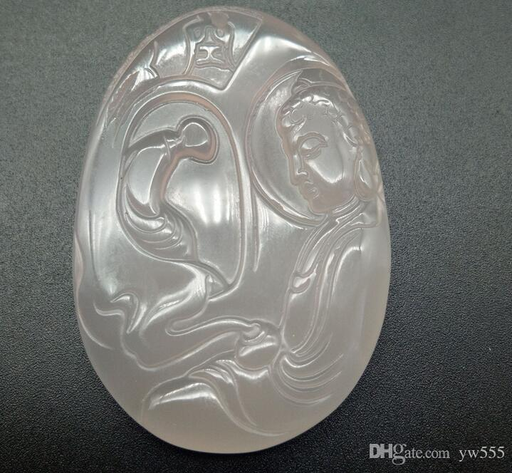 Genuine natural ice species A goods large fluorescent white chalcedony agate Guanyin pendant jade pendant