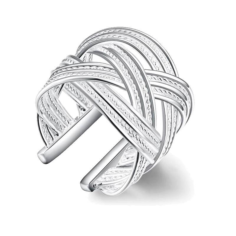 Exquisite fashion silver plated large mesh ring jewelry twist open ring