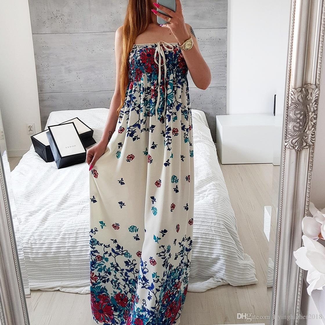 Floral Print Maxi Dresses 2018 Girl Kawaii Lace Up Plus Size Beach Summer  Boho Long Dress Women Female Strapless Sundress Summer Dresses Womens ...