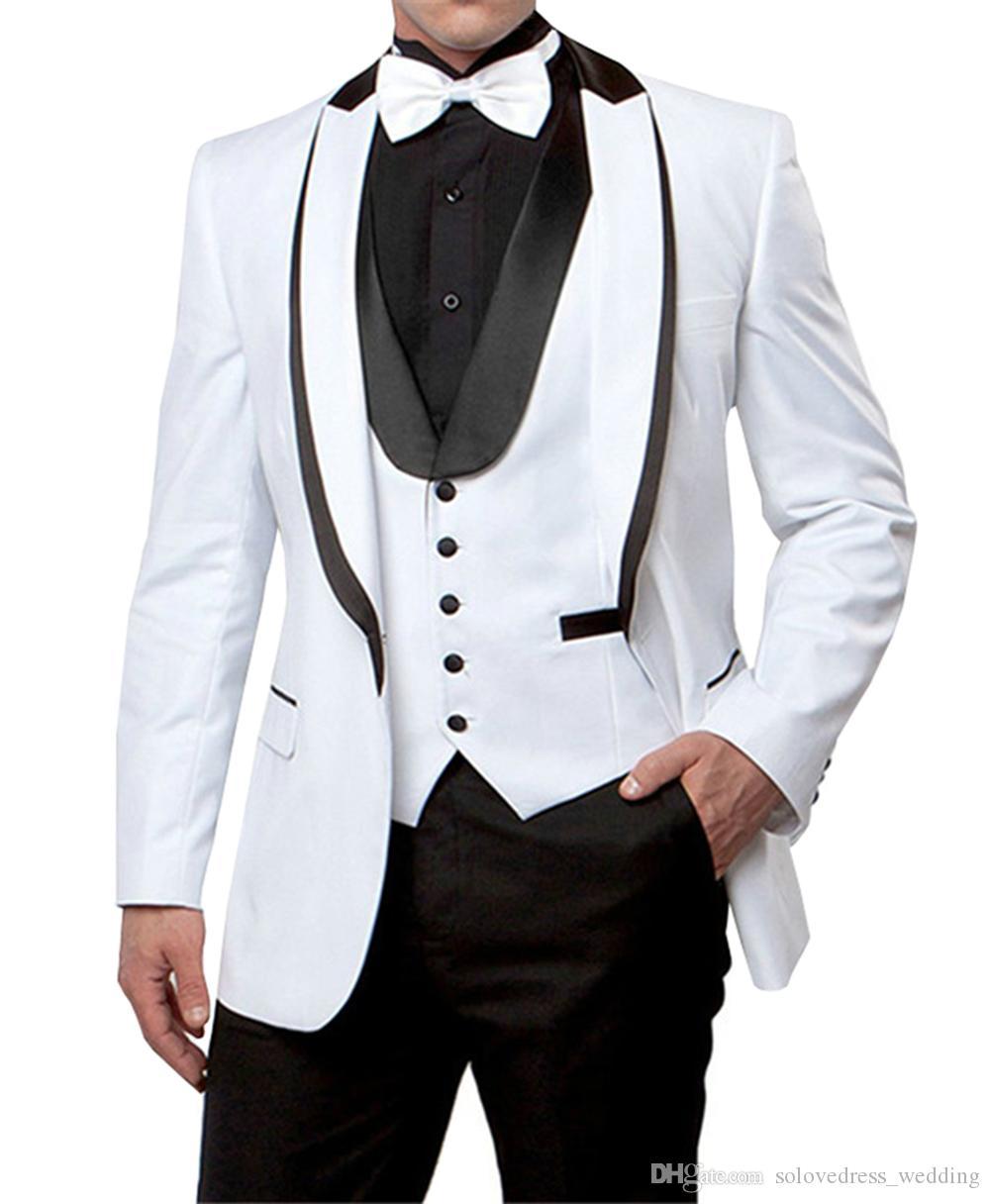 Nouveau Blanc Hommes Costumes Slim Fit Marié Tuxedos Blanc avec revers noir meilleurs hommes costumes Sur Mesure Groomsmen costumes