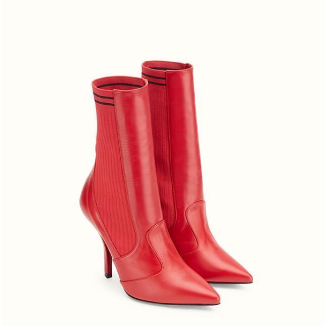 2018 yeni varış kadın kırmızı deri çizmeler moda bayan çorap Patik Kadın parti ayakkabı ince topuk elbise çizmeler üzerinde kayma noktası toe mujer botas