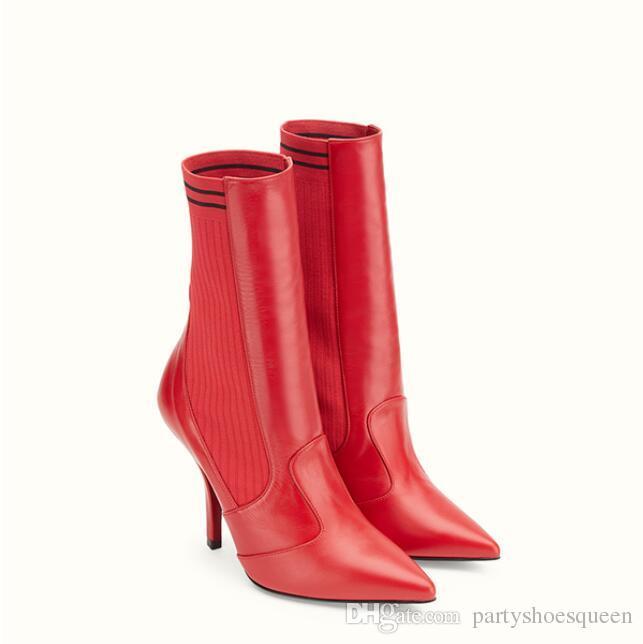 2018 nuevas mujeres de la llegada botas de cuero rojo moda damas calcetines botines zapatos de fiesta del talón delgado resbalón en botas de vestir punta del pie mujer botas