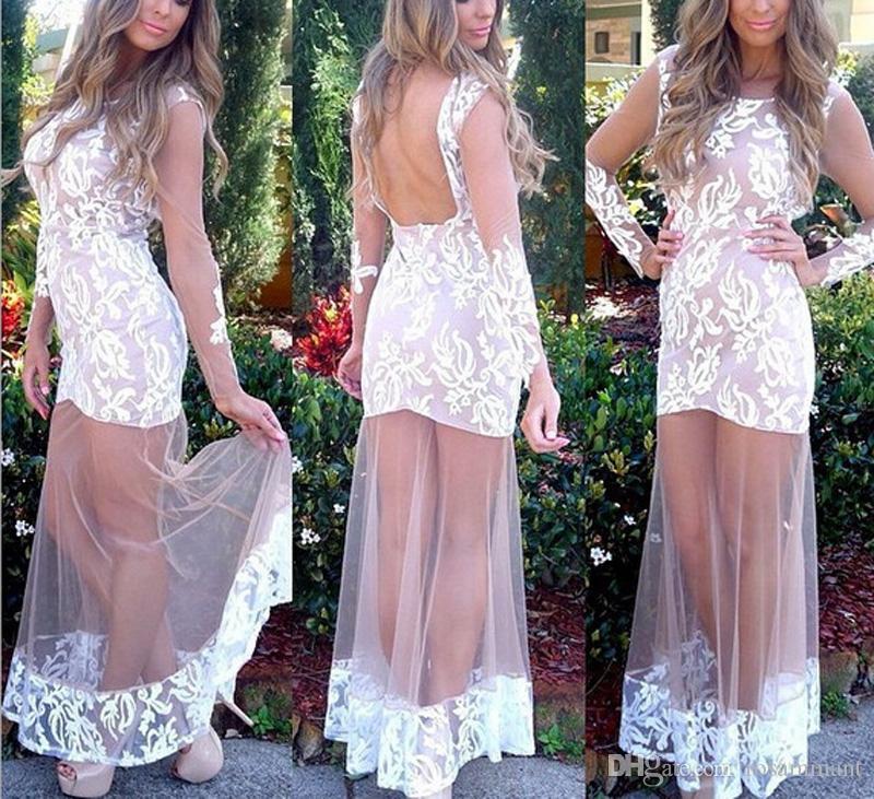 Abiti da sera Prom Dress Backless pura sexy del collo del manicotto della protezione merletto di Appliques lunghi vestidos de fiesta