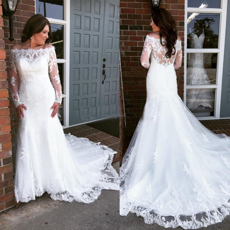 2019 elegante fuera del hombro apliques de encaje sirena vestidos de novia mangas largas más el tamaño vestidos de novia capilla tren vestidos de novia vestidos
