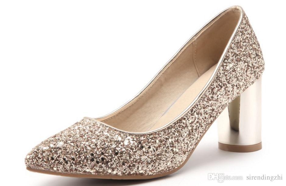 Invio gratuito Hot nuove scarpe da donna a punta fine tacco alto Tallone tacco Scarpe singole banchetto scarpe da sposa