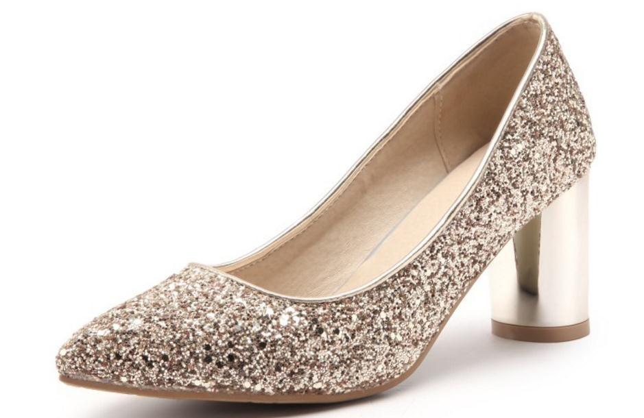 Envío gratis Hot New zapatos de mujer puntiagudo talón grueso Talón grueso Zapatos individuales zapatos de boda banquete