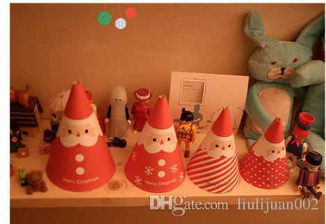 Рождество трехмерная поздравительная открытка Санта благословение карты цилиндр декоративные карты рождественские украшения рождественский подарок мешок 4ps / комплект