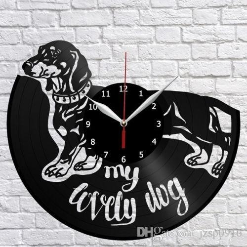 Teckel Dog Vinyl Record Horloge murale Fan Art Home Decor Vintage Wall Art Le meilleur des cadeaux pour amoureux des chiens (Taille: 12inch Couleur: Noir)