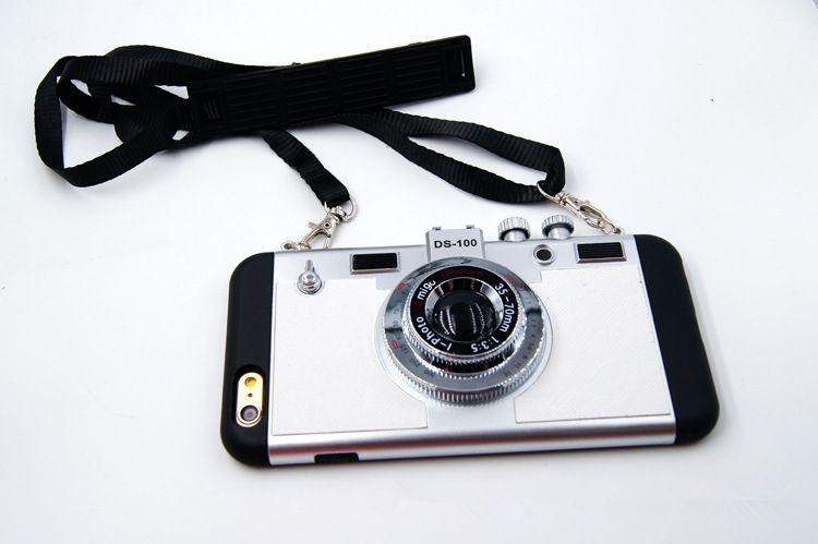 Per il caso di iphone X caso di lusso del telefono della retro macchina fotografica 3D per Iphone 6 6s 7 8 più copertura molle del silicone della borsa con la cordicella