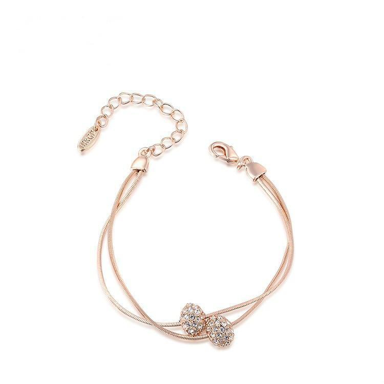 Braccialetto europeo e del doppio di modo americano Bead braccialetto femminile di fascia alta regalo di compleanno gioielli in oro rosa classico braccialetto di diamanti