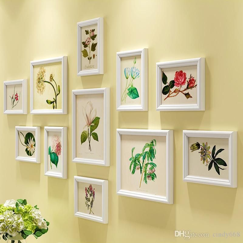 Blooming Flower Pattern Photo Frames Wall For Lovely Home Decor 11pcs/set Picture Frames Set Wall Hanging Wooden Photo Frames