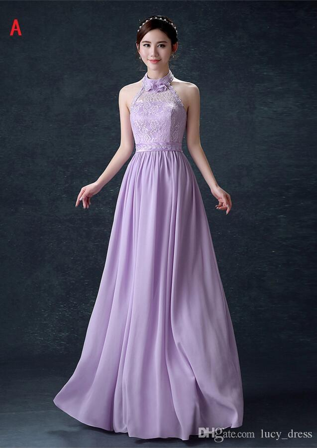 best place sports shoes on sale Lilac Lace Bridesmaids Dresses 3 Styles Jewel Neck Chiffon Wedding Guest  Dress Floor Length Cheap Maid Of Honor Gowns Vintage Bridesmaid Dress  Vintage ...