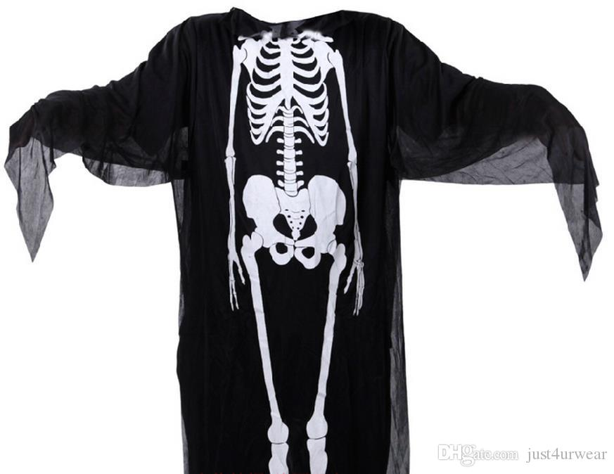 Costume de thème Costumes Halloween Capes Adulte Enfants Party Club Ghost Cosplay Structure du corps humain Imprimer Mens femmes