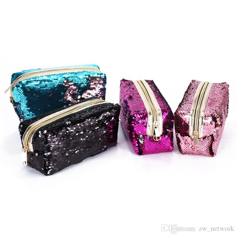 Sıcak moda Mermaid sequins kalem çanta öğrenciler için kadınlar kozmetik çantaları debriyaj altın pembe siyah 6 renkler