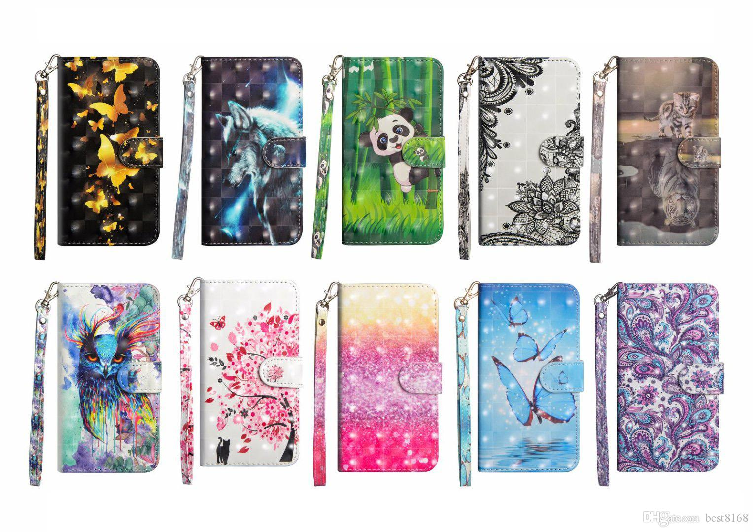 3D Leather Wallet Case For Iphone XR XS MAX Galaxy Note9(J8 A8 A9 Star)2018 Lace Butterfly Flower Panda Tree Bird Flip Cover Cartoon Wolf