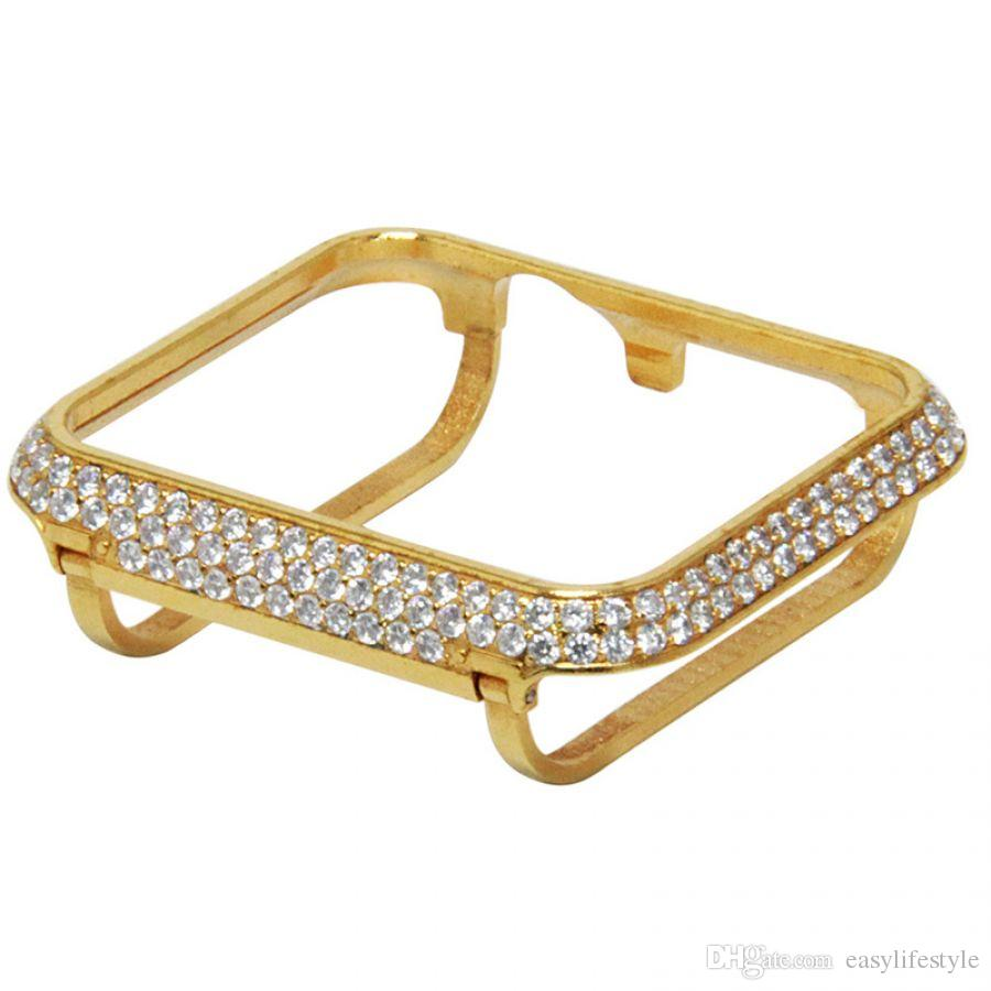 for apple watch series 3 24Kt gold diamond case handwork encrusted zircon crystal jewelry bezel compatible series 2 and 1 38mm 42mm