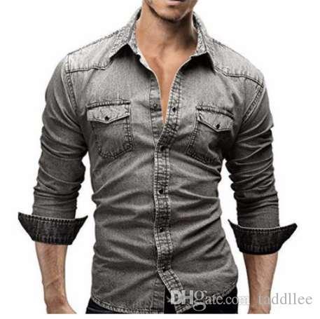 Camisa dos homens Marca 2018 Camisas de Manga Longa Masculina Casual Cor Sólida Denim Slim Fit Camisas de Vestido Dos Homens 3XL 3011