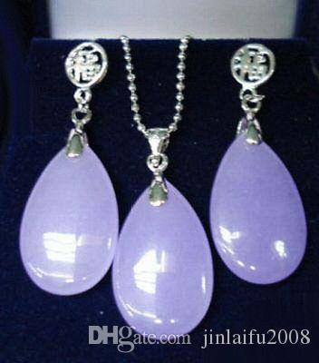 Viola lavanda Jade oro bianco placcato Fortune Pendant Necklace orecchini set