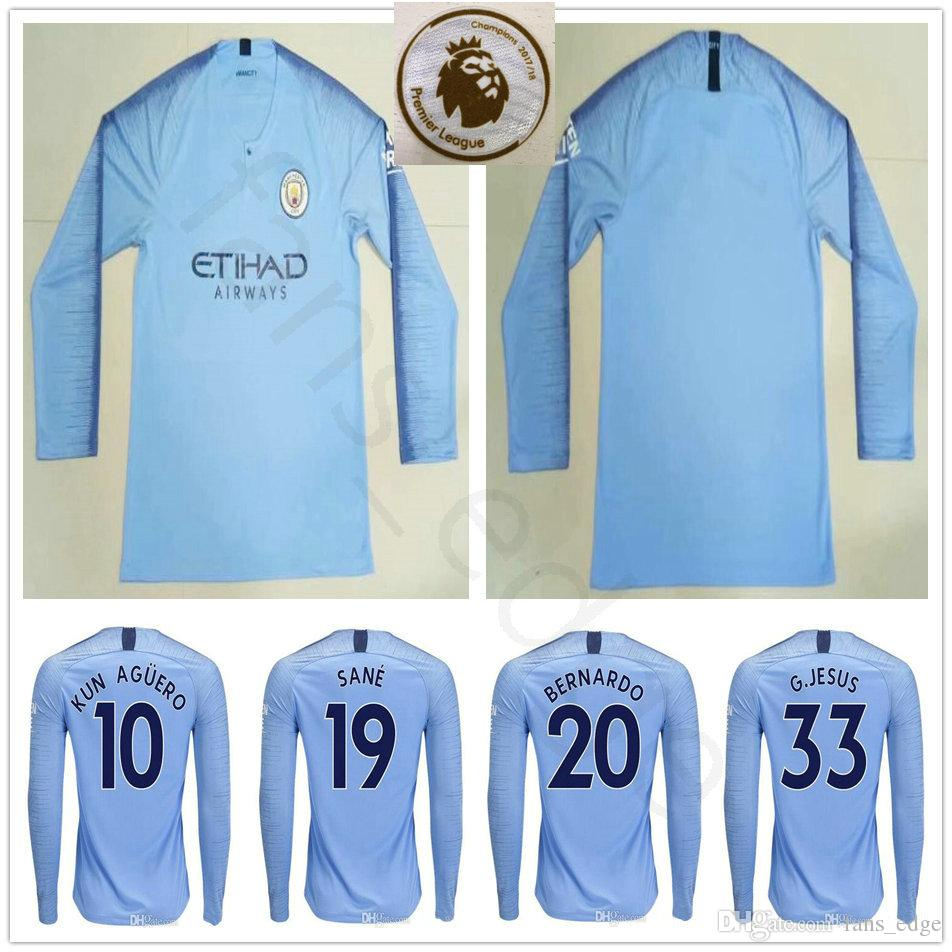 new arrival 91bc7 aea7b 2018 Custom 18 19 Manchester City Long Sleeve Soccer Jerseys Kun Aguero  G.Jesus Sane Sterling De Bruyne Mahrez Bernardo 2018 2019 Football Shirt  From ...