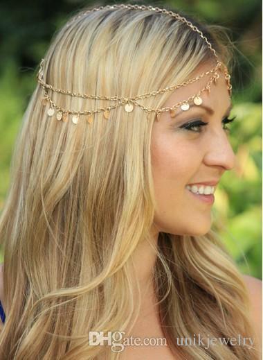Bling головной цепи с Squines Для девочек Свадебных аксессуаров для волос Свадебных головного убора позолоченного диапазона волосы кисточки