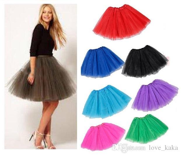 3 unids adulto tutu falda mujer tulle dance tutu niñas princesa larga falda de halloween fantasía tutus vestir faldas 40 cm