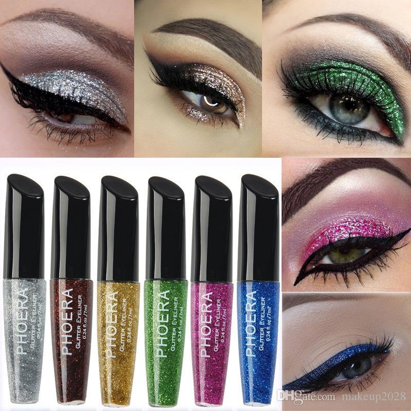 Marca PHOERA 12 colores de ojos líquido impermeable del brillo sombra de ojos de resaltado de maquillaje Delineador de ojos libre de DHL 90