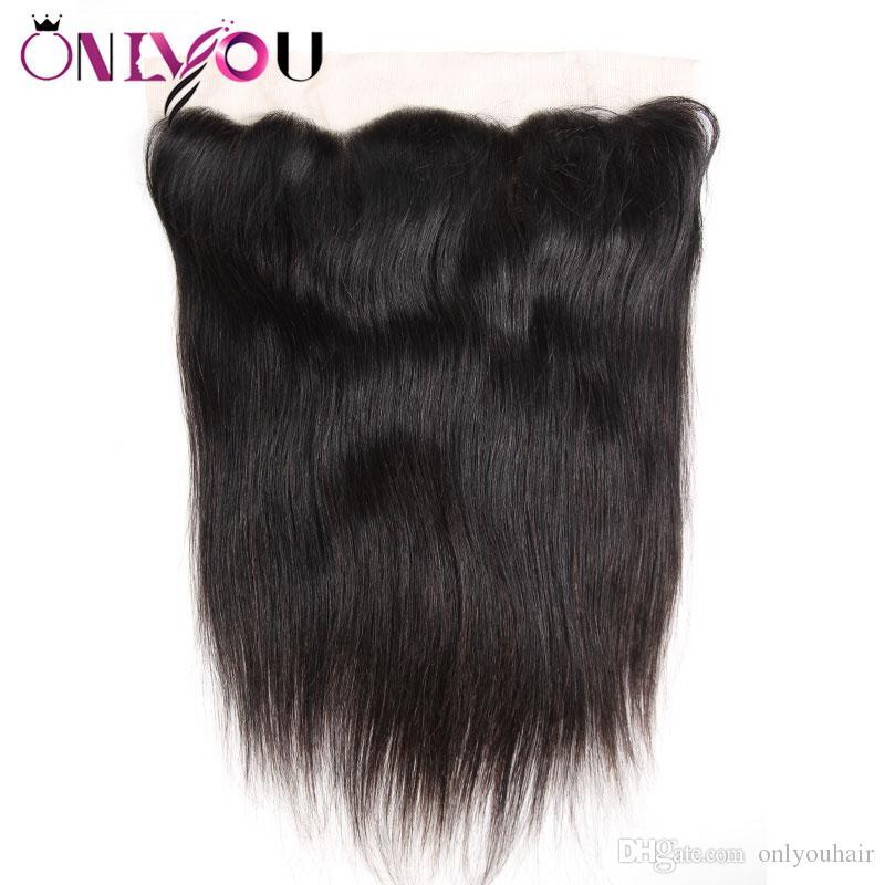 البرازيلي العذراء الشعر ملحقات مستقيم 13x4 الأذن إلى الأذن الرباط أمامي حريري مستقيم أعلى ريمي الشعر إغلاق مناسبة مع حزم الشعر البشري