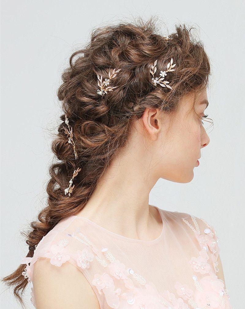Pearl Bridal Headpiece Hairbands 3Pcs Hairpins Leaf Headband Wedding Headdress with Diamond Wedding Hair Accessories Bride Tiara Jewelry