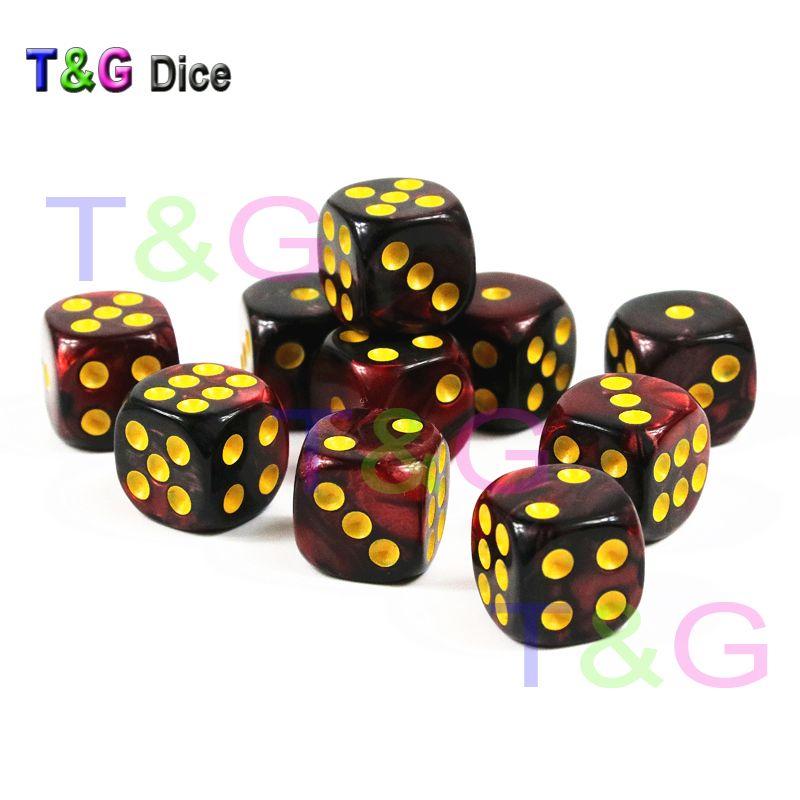 10pcs / set кубика казино 12mm D6, плашки с многоточием Золотого Стандарта как Башня плашек