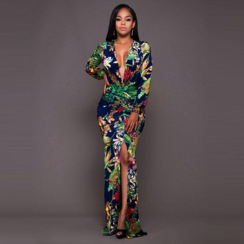 Compre Elegante Vestido Largo Estampado Floral Con Cuello En V Maxi Mujer Vestido Largo Manga Larga Otoño Casual Robe Femme Vestidos A 185 Del