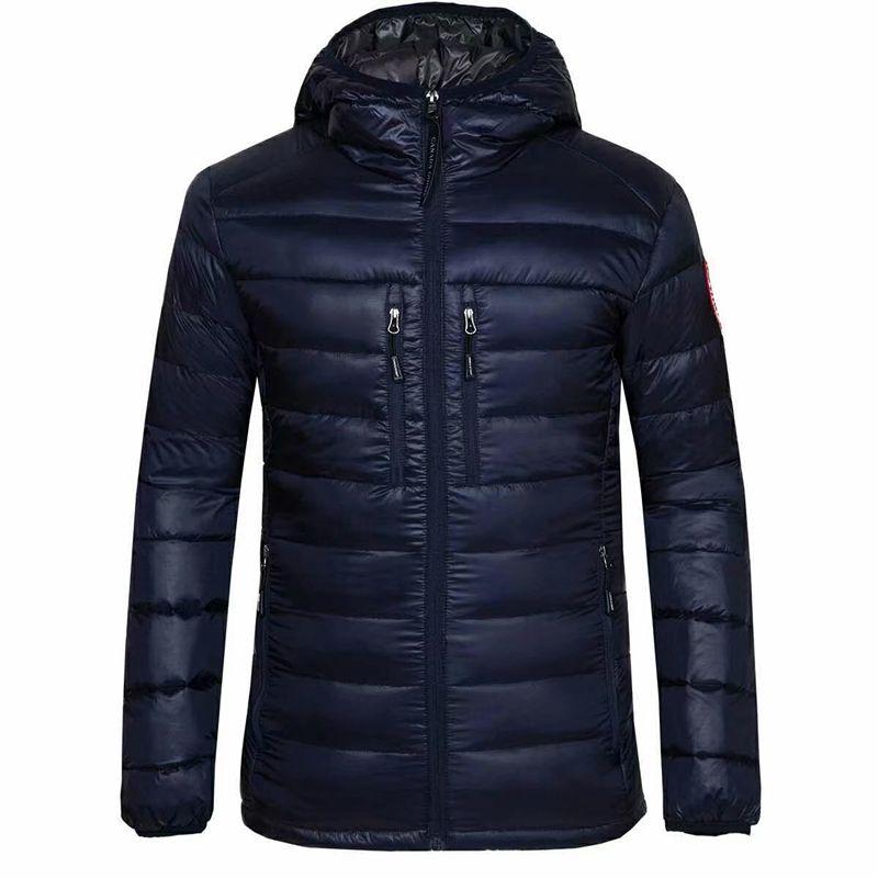 무료 배송 뉴 캐나다 패션 스포츠 브랜드 남자 100 % 거위 다운 얇은 고품질 웜 자켓 후드 캐주얼 면화 코트 의상