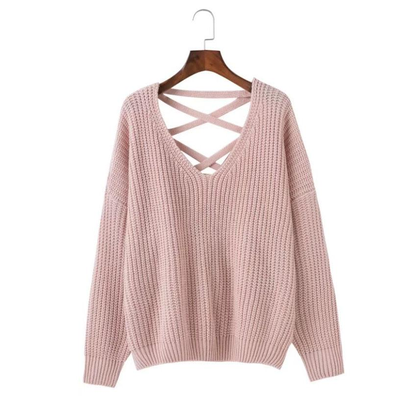 2019 Fashion Back Bandage Lacing Sweater Women Autumn Batwing Sleeve Solid Pullovers Sweaters For Women Stylish Womens Sweater From Armani10 2179