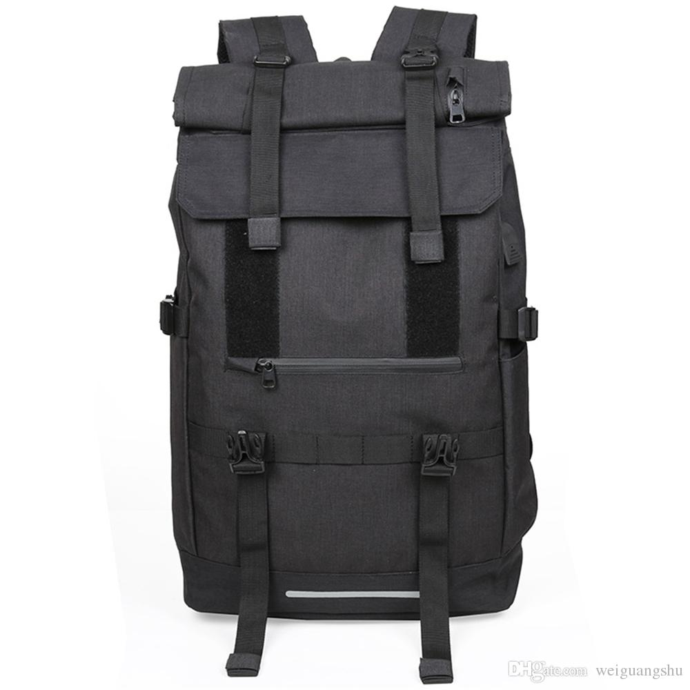 Outdoor backpack male travel mountaineering bag female large capacity light walking bag USB interface sports backpack