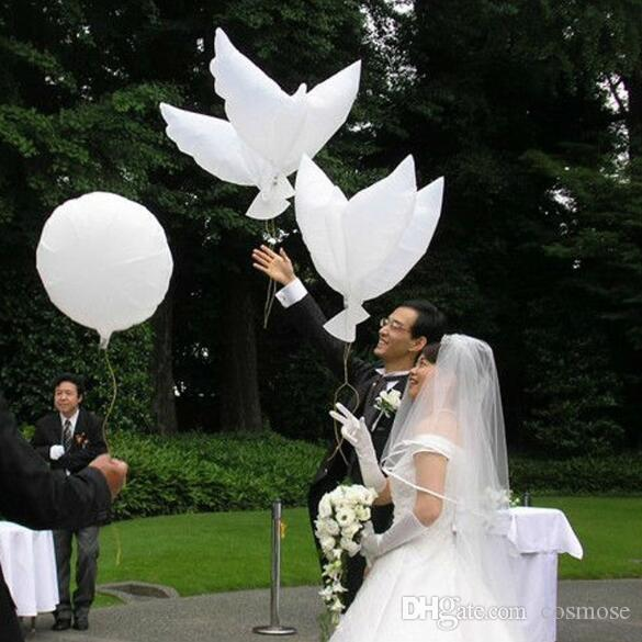 Flying White Peace Dove Balloon Pigeons Peace Dove Foil Balloon Wedding Decoration Aluminum Balloons Inflatable Party Decoration Photo Props