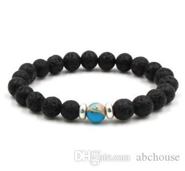 8 mm Lava Stein Mala Ätherisches Öl Diffusor Schutz Energy Healing Stretch Armband DIY Schmuck Männer Frauen Stretch Yoga Handgemachte Armbänder