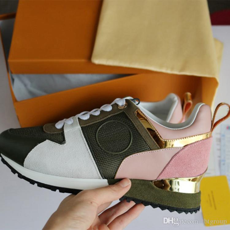 2018 YENI Lüks deri rahat ayakkabılar Kadın Tasarımcı sneakers erkekler ayakkabı hakiki deri moda Karışık renk orijinal kutusu