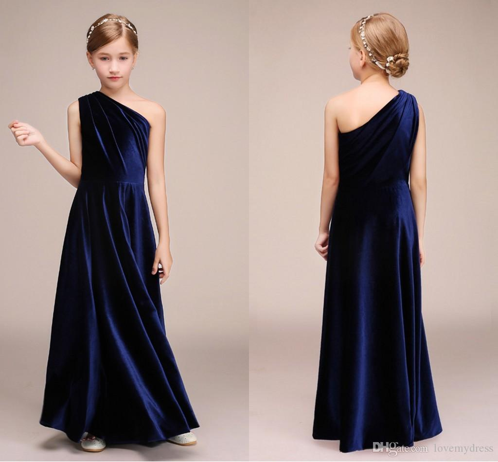 Navy Blue Junior Bridesmaid Dresses One Shoulder