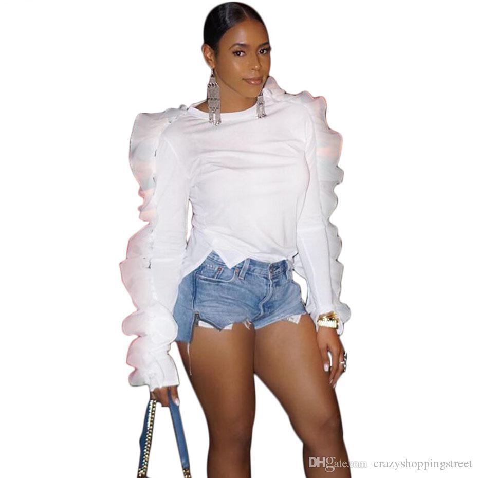 섹시한 프릴 블라우스 우아한 가을 튜닉 가을 패션 슬림 화이트 셔츠 나비 긴 소매 여자 정상 및 블라우스