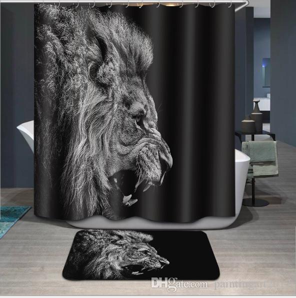 La mejor cortina de baño de la tela impermeable negra cortina de ducha personalizada diseño íntimo La cortina de ducha de león africano animal y la estera del animal doméstico