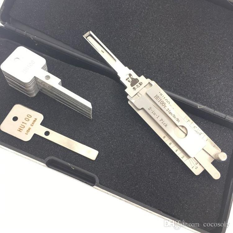 Locksmith Lishi Lock Pick Tool 2 in 1 Car Door Lock Pick Decoder HU100 Unlock Tool Lock Picks