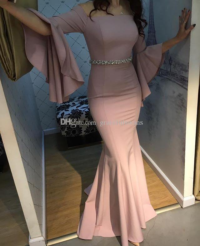 Strapless Mermaid Formal Evening Dresses Speaker Long Sleeve Fashionable Evening Gowns with Beaded Waist vestido de festa longo