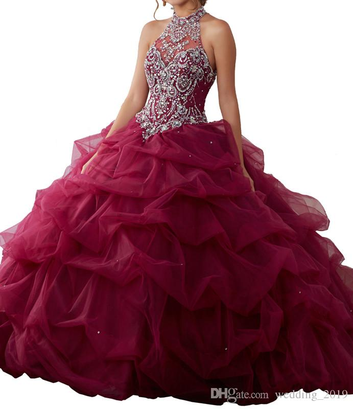 Quinceanera Dresses 2019 Sexy Heart Neckle Eugene Yarn Back Band Dragging Heavy Handmade Neckband with Web Design Customized Packing