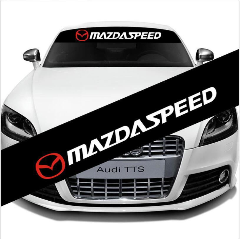 Front Rear Windshield Exterior Black Banner Decal Car Sticker For Mazda Speed