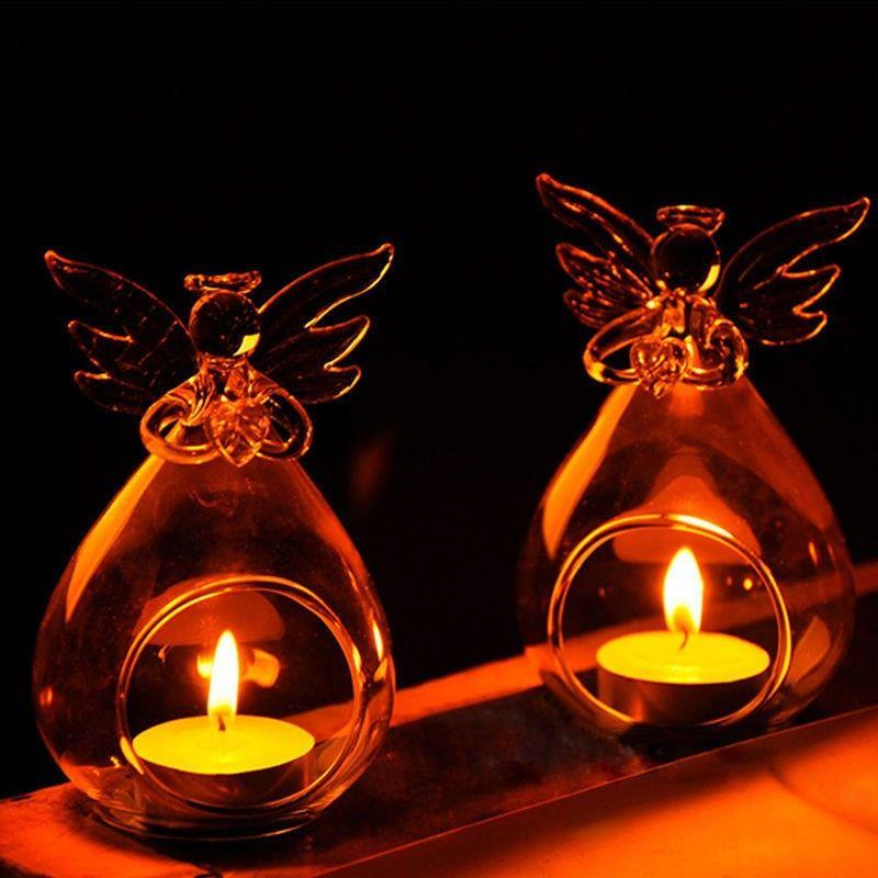Romantico angelo crystal vetro candela portacandale appeso tea luce lanterna candeliere bruciatore vaso decorazione festa di nozze fai da te