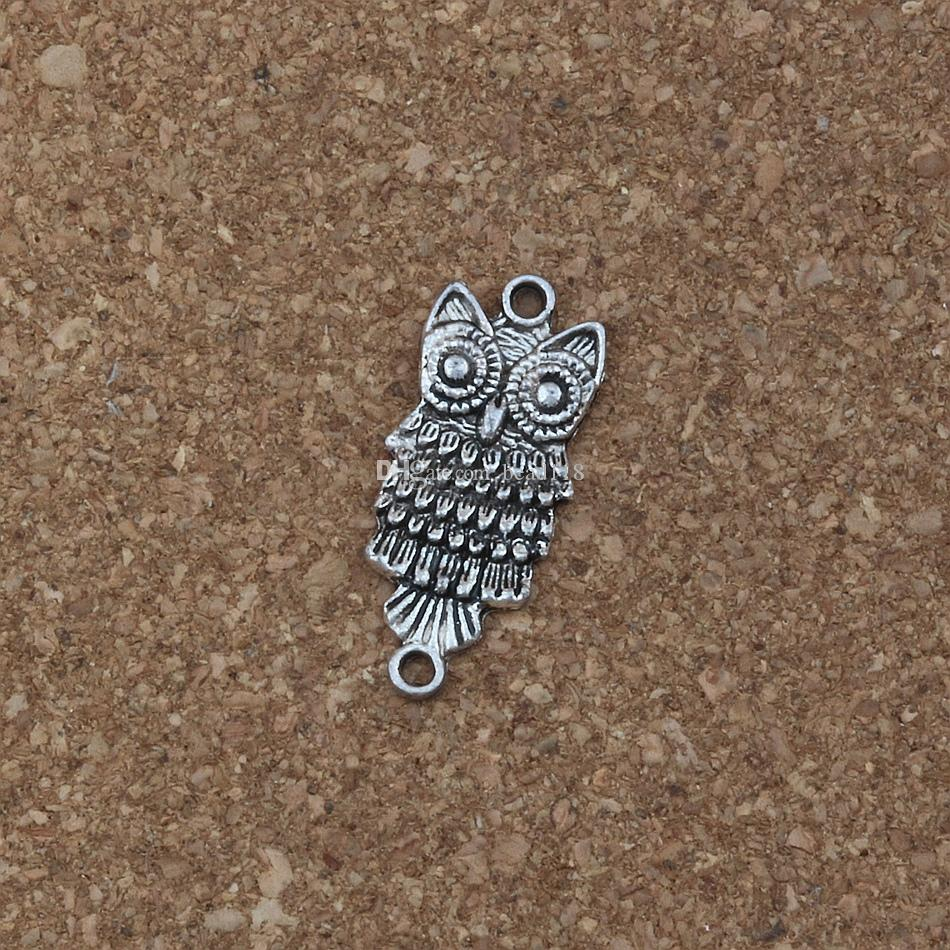 MIC 100pcs/ lots Charms owl connector 12.8 * 28.5mm Antique Silver Jewelry DIY Fit Bracelets Necklace F-1