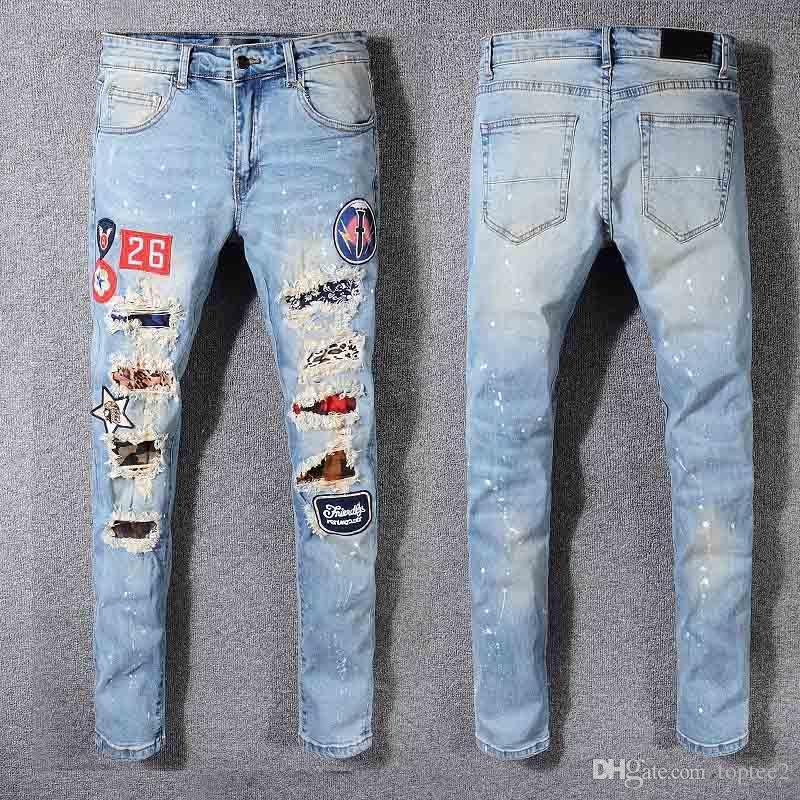 Jeans da motociclista strappati strappati da uomo Slim Fit Biker Biker Denim per uomo Fashion Designer Hip Hop Jeans da uomo di buona qualità # 586